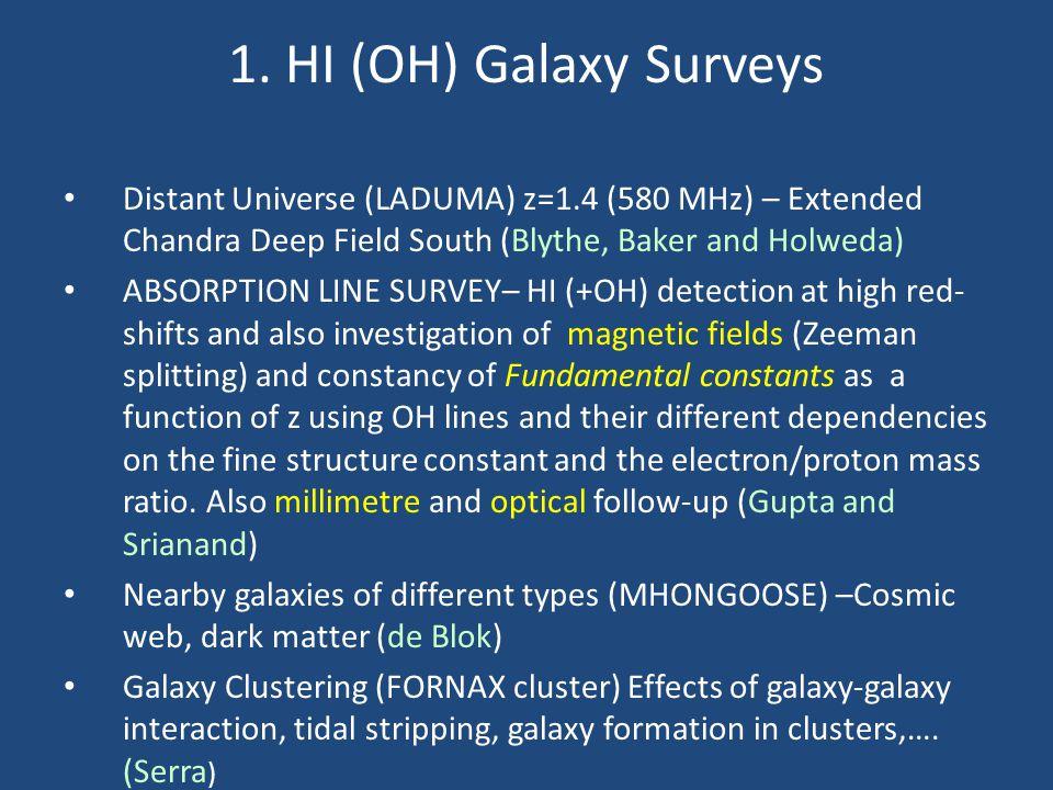 1. HI (OH) Galaxy Surveys Distant Universe (LADUMA) z=1.4 (580 MHz) – Extended Chandra Deep Field South (Blythe, Baker and Holweda) ABSORPTION LINE SU