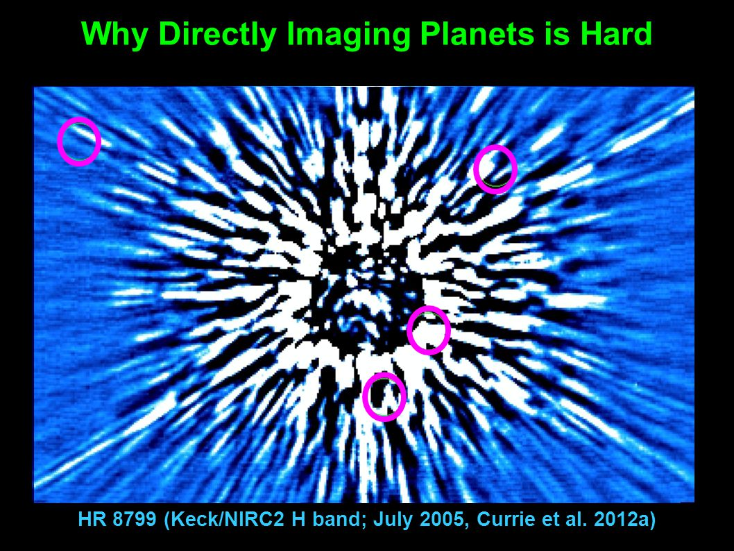 Why Directly Imaging Planets is Hard HR 8799 (Keck/NIRC2 H band; July 2005, Currie et al. 2012a)