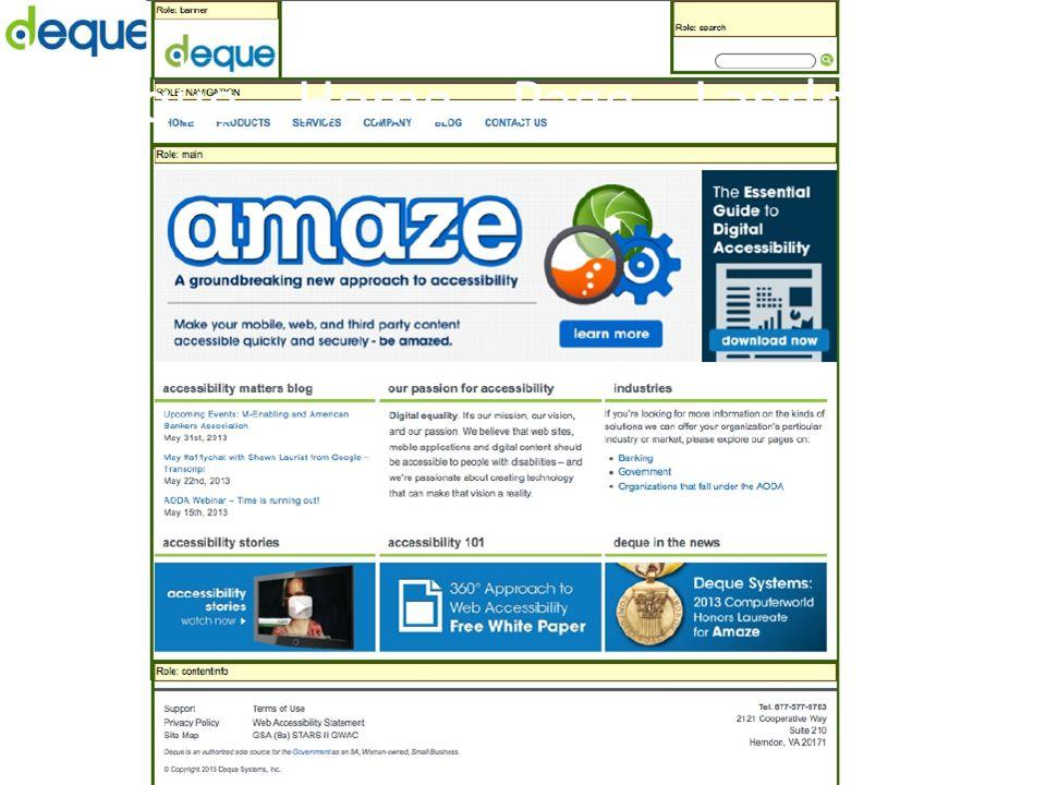 Deque Home Page Landmakr Roles