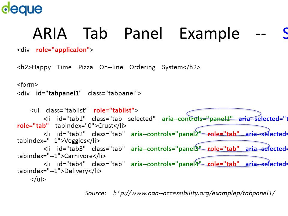 ARIA Tab Panel Example -­‐ State Happy Time Pizza On-­‐line Ordering System <li id=