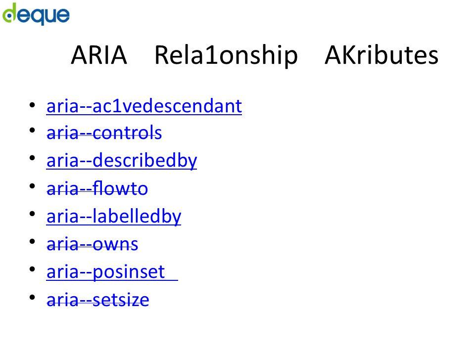 ARIA Rela1onship AKributes aria-‐ac1vedescendant aria-‐controls aria-‐describedby aria-‐flowto aria-‐labelledby aria-‐owns aria-‐posinset aria-‐setsize