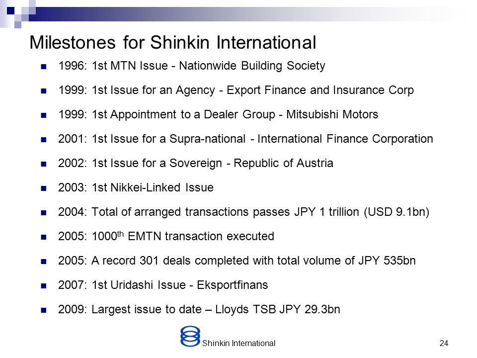 Shinkin International23 Current Investment Trends Our wholesale investors have maintained good JPY liquidity from domestic savings accounts throughout the credit crunch but have been very selective about making EMTN investments.