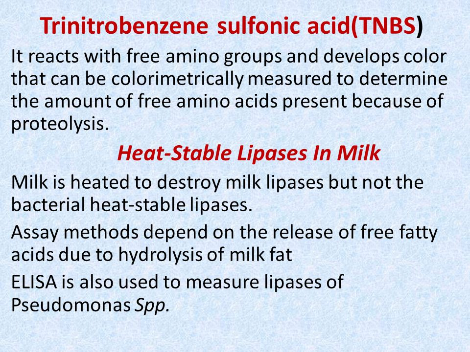 Trinitrobenzene sulfonic acid(TNBS) It reacts with free amino groups and develops color that can be colorimetrically measured to determine the amount