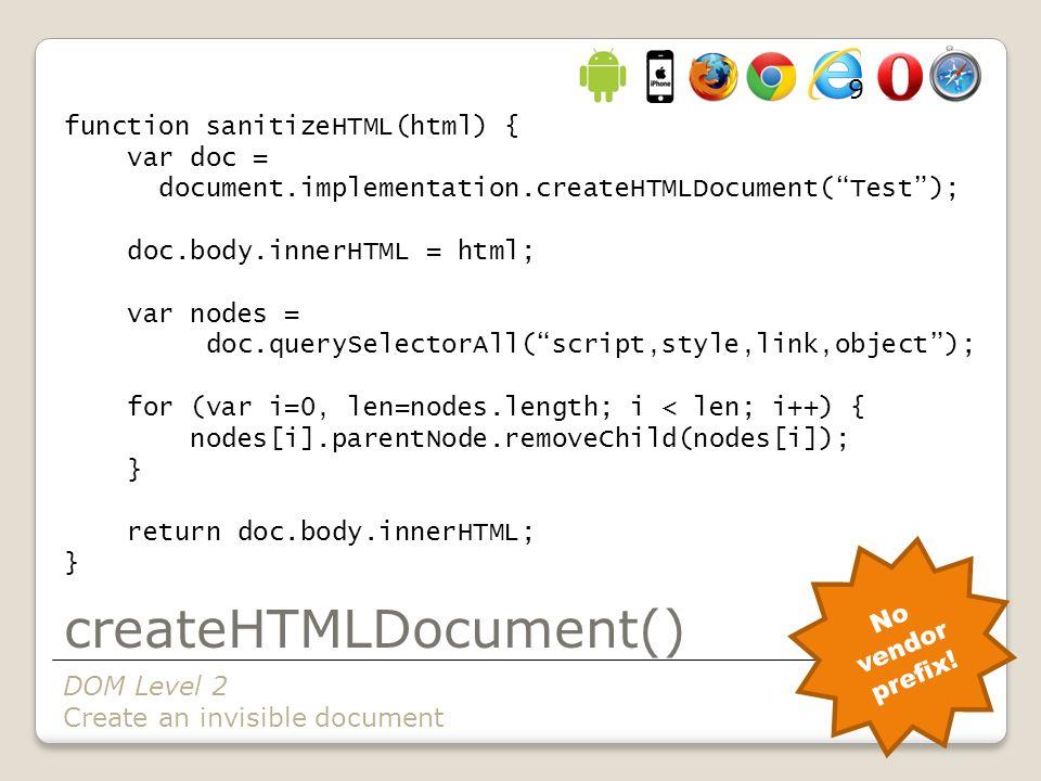 createHTMLDocument() function sanitizeHTML(html) { var doc = document.implementation.createHTMLDocument( Test ); doc.body.innerHTML = html; var nodes = doc.querySelectorAll( script,style,link,object ); for (var i=0, len=nodes.length; i < len; i++) { nodes[i].parentNode.removeChild(nodes[i]); } return doc.body.innerHTML; } DOM Level 2 Create an invisible document No vendor prefix.