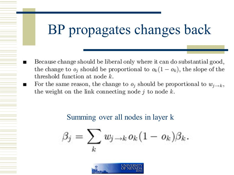 BP propagates changes back Summing over all nodes in layer k