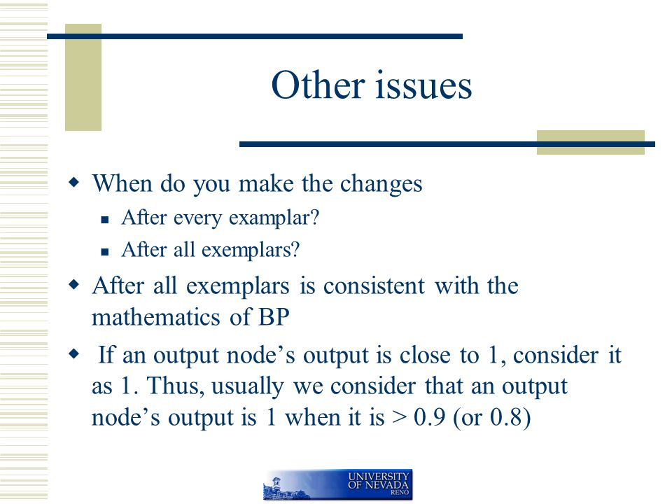Other issues  When do you make the changes After every examplar.