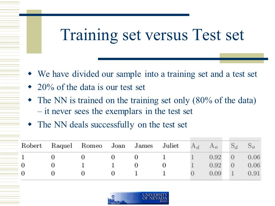 Training set versus Test set  We have divided our sample into a training set and a test set  20% of the data is our test set  The NN is trained on the training set only (80% of the data) – it never sees the exemplars in the test set  The NN deals successfully on the test set