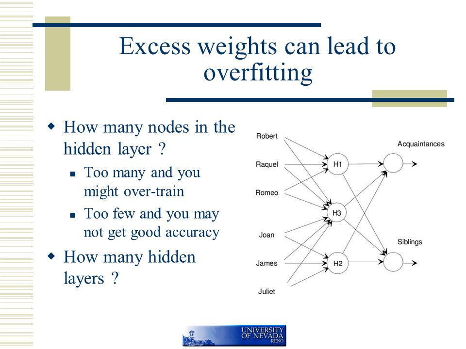 Excess weights can lead to overfitting  How many nodes in the hidden layer .