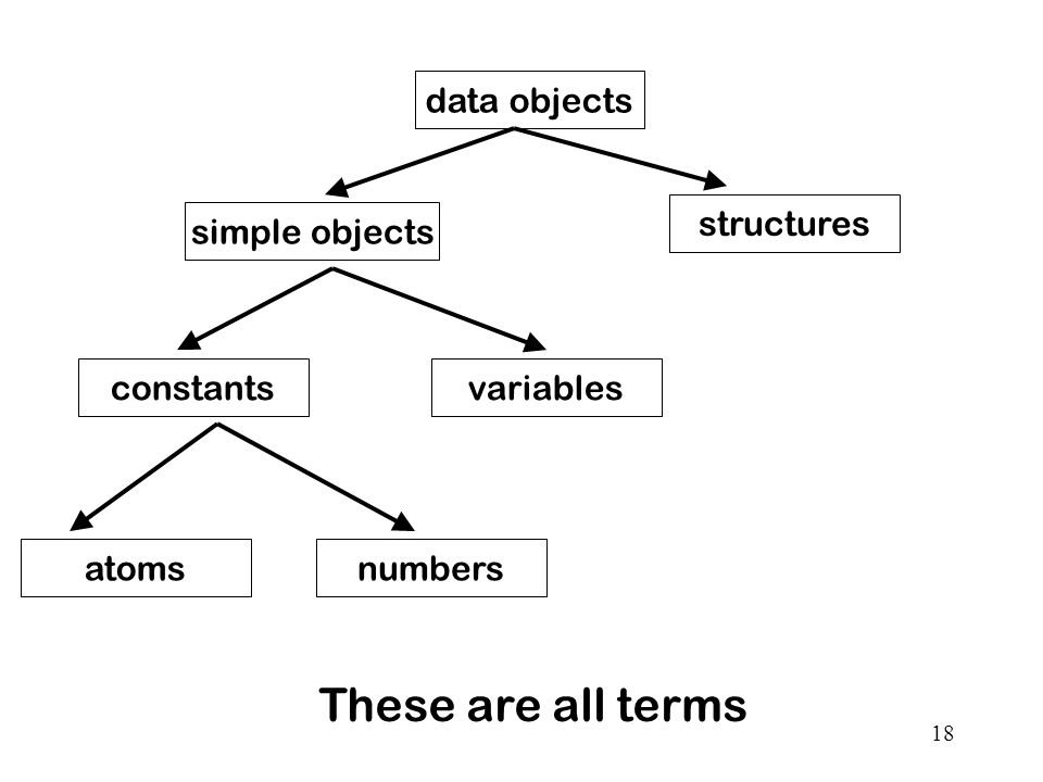 18 data objects simple objects structures constantsvariables atomsnumbers These are all terms