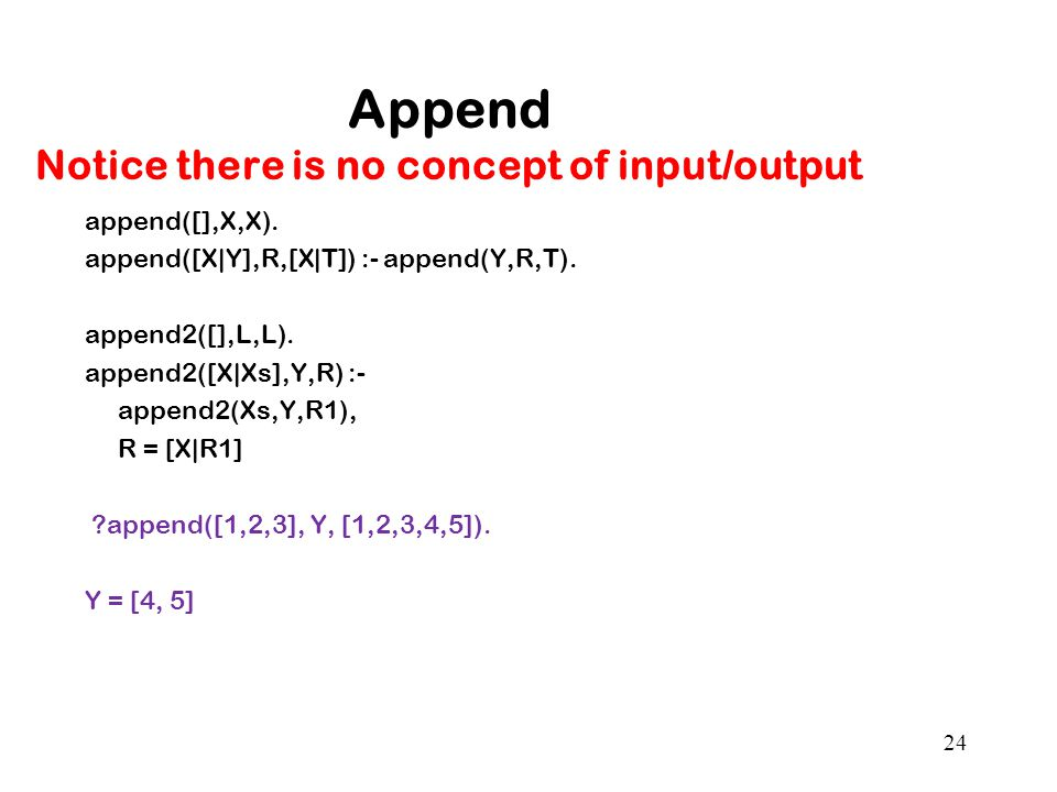 Append Notice there is no concept of input/output append([],X,X).