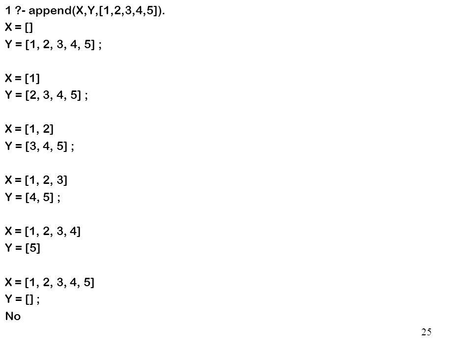 1 - append(X,Y,[1,2,3,4,5]).