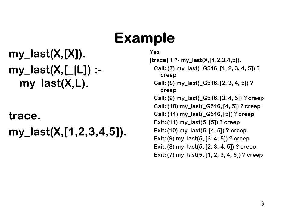 Example my_last(X,[X]). my_last(X,[_|L]) :- my_last(X,L).