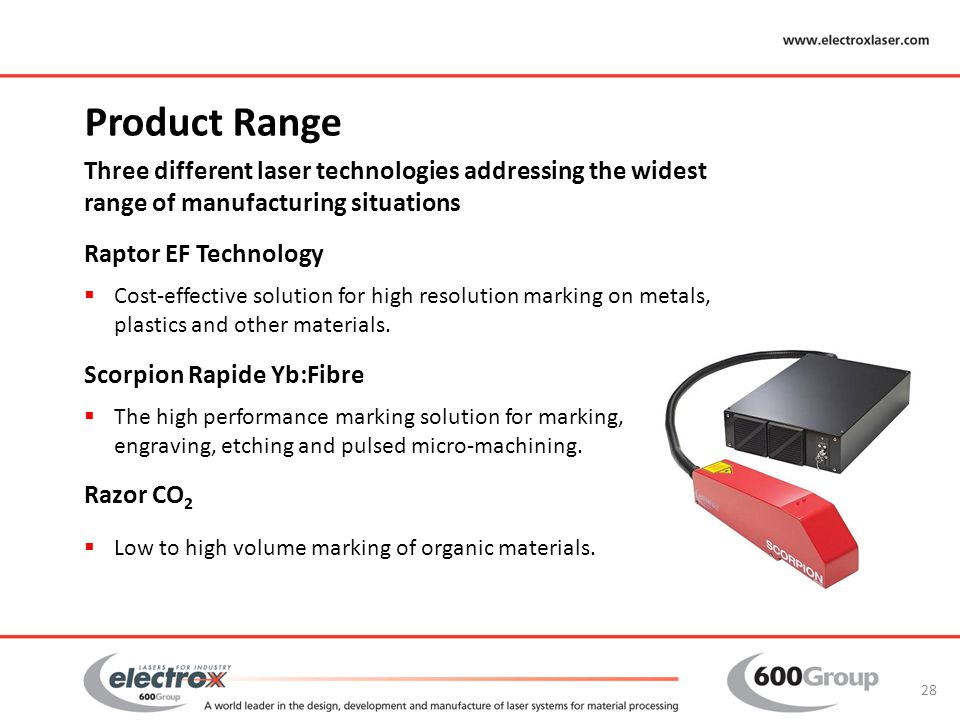 Product Range Three different laser technologies addressing the widest range of manufacturing situations Raptor EF Technology  Cost-effective solutio