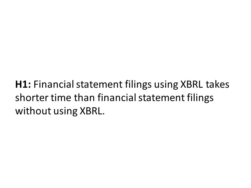 H1: Financial statement filings using XBRL takes shorter time than financial statement filings without using XBRL.