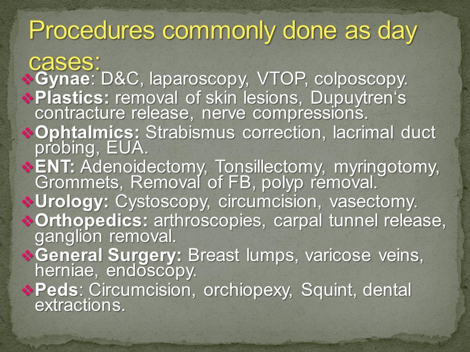  Gynae: D&C, laparoscopy, VTOP, colposcopy.