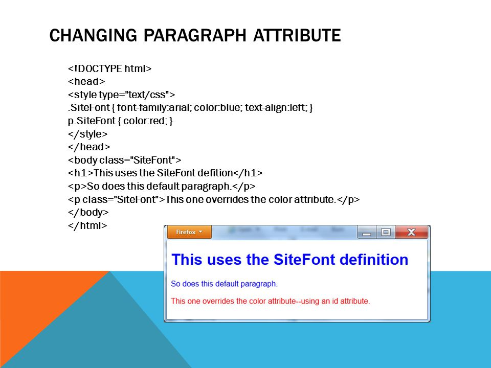 CHANGING PARAGRAPH ATTRIBUTE.SiteFont { font-family:arial; color:blue; text-align:left; } p.SiteFont { color:red; } This uses the SiteFont defition So