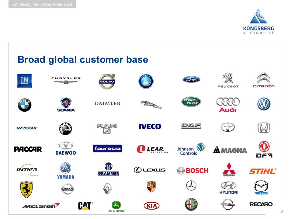8 Broad global customer base 8