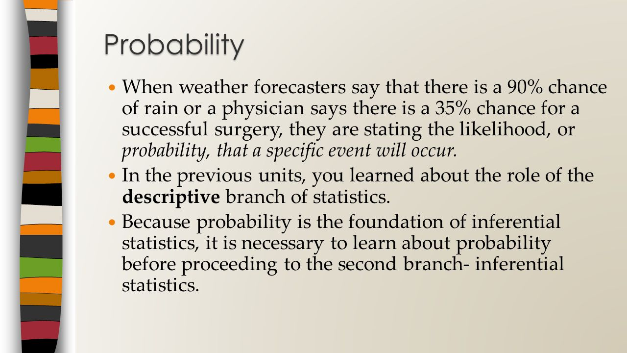 When weather forecasters say that there is a 90% chance of rain or a physician says there is a 35% chance for a successful surgery, they are stating the likelihood, or probability, that a specific event will occur.