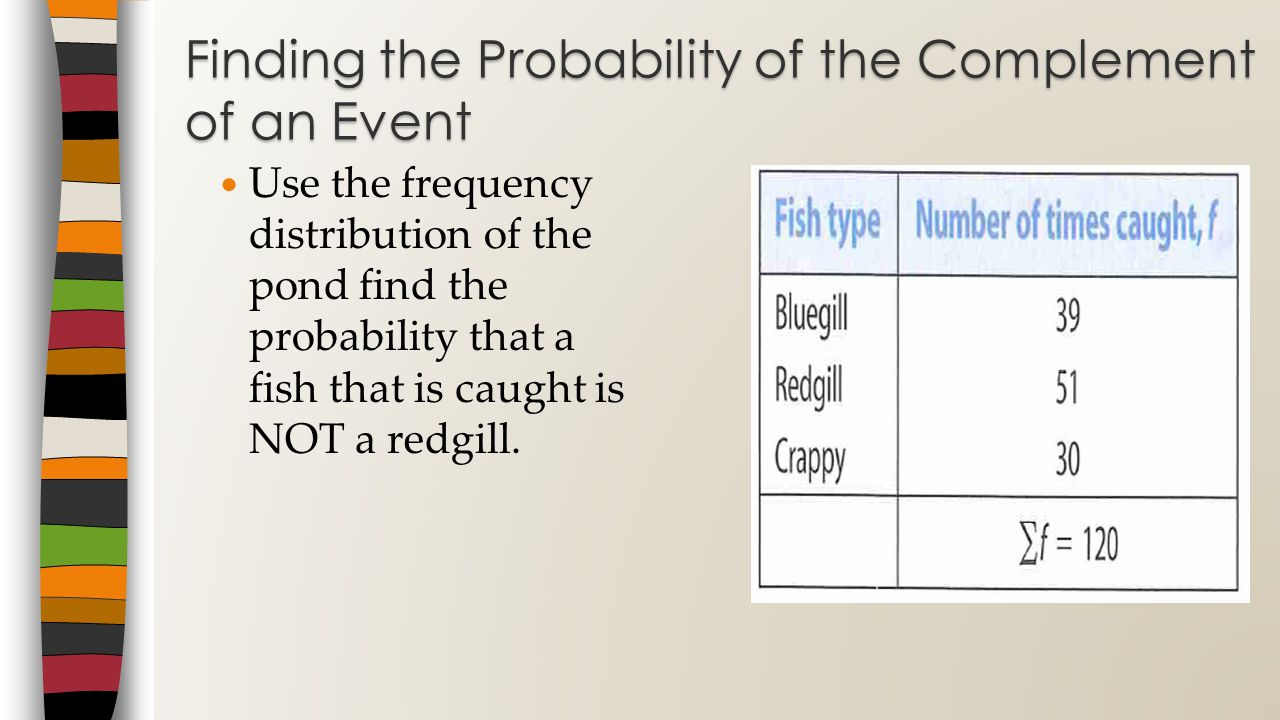 Use the frequency distribution of the pond find the probability that a fish that is caught is NOT a redgill.