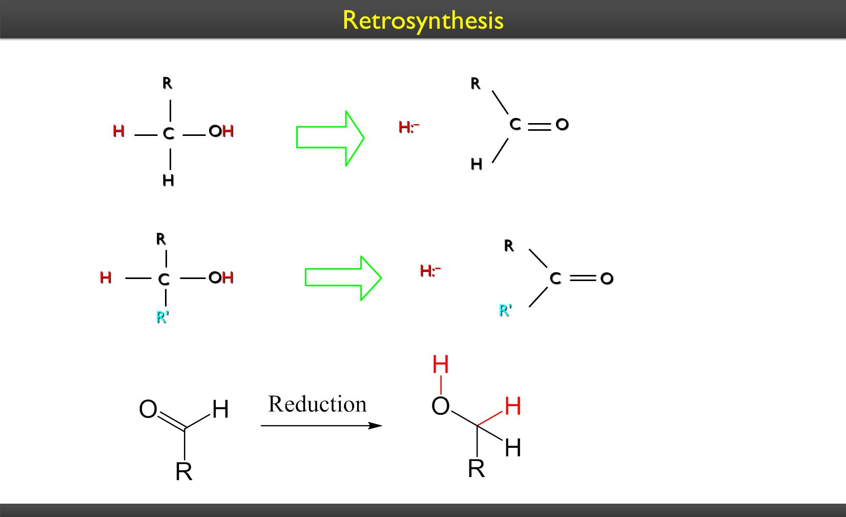 Retrosynthesis H: – CRH OHOHOHOH H C R H O CRH OHOHOHOH R' C R R' O