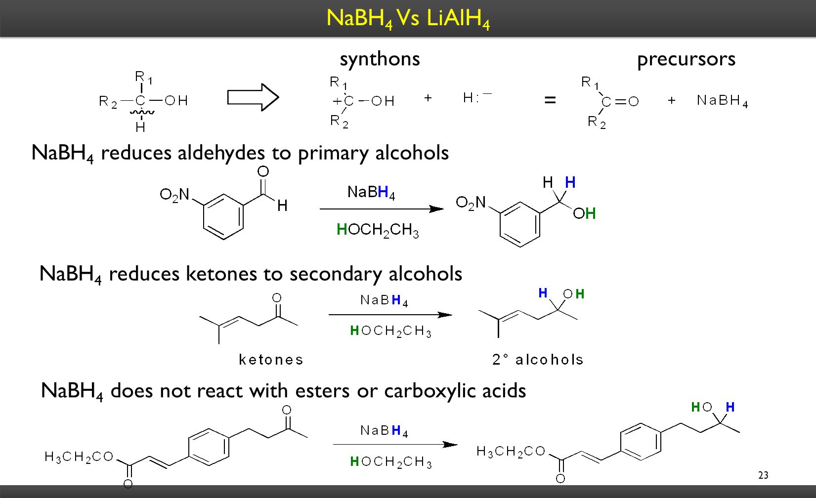 NaBH 4 Vs LiAlH 4 23 synthonsprecursors = NaBH 4 reduces aldehydes to primary alcohols NaBH 4 reduces ketones to secondary alcohols NaBH 4 does not react with esters or carboxylic acids