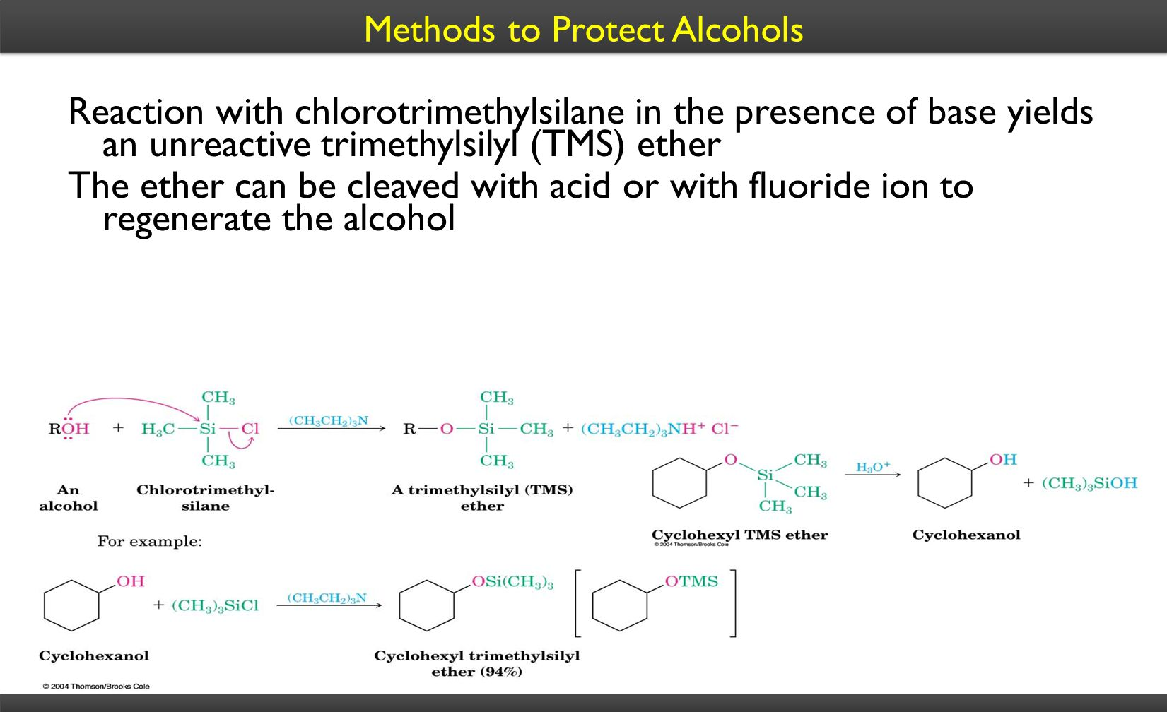 Methods to Protect Alcohols Reaction with chlorotrimethylsilane in the presence of base yields an unreactive trimethylsilyl (TMS) ether The ether can