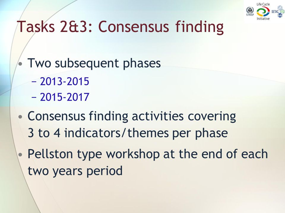 Tasks 2&3: Consensus finding Two subsequent phases −2013-2015 −2015-2017 Consensus finding activities covering 3 to 4 indicators/themes per phase Pell