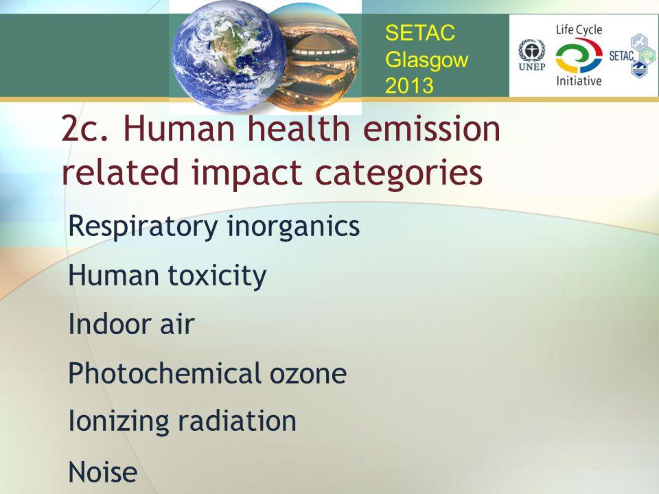 2c. Human health emission related impact categories Respiratory inorganics Human toxicity Indoor air Photochemical ozone Ionizing radiation Noise SETA