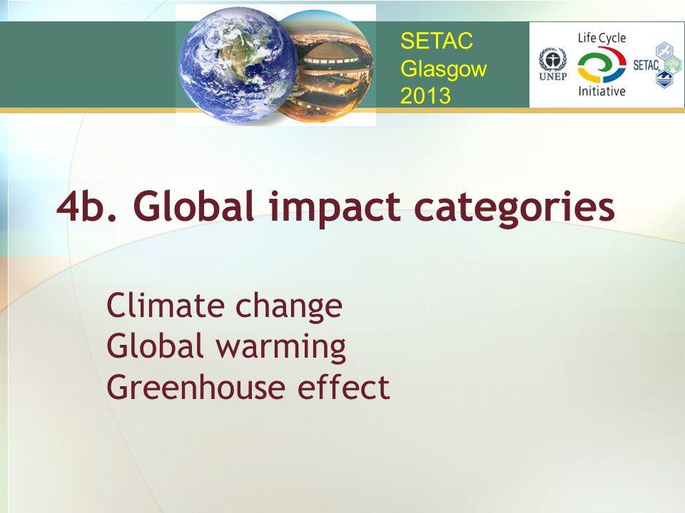 4b. Global impact categories SETAC Glasgow 2013 Climate change Global warming Greenhouse effect