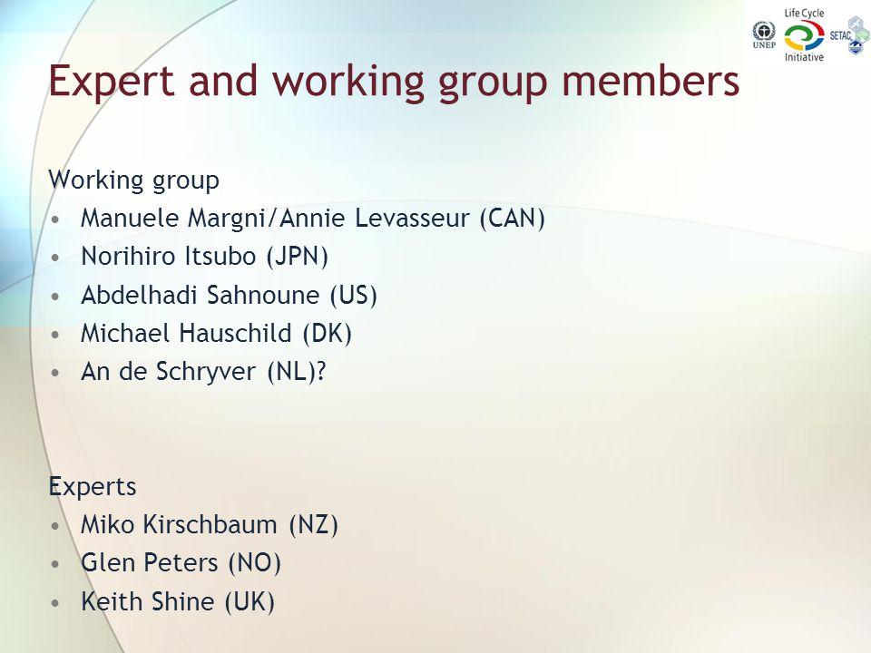Expert and working group members Working group Manuele Margni/Annie Levasseur (CAN) Norihiro Itsubo (JPN) Abdelhadi Sahnoune (US) Michael Hauschild (D
