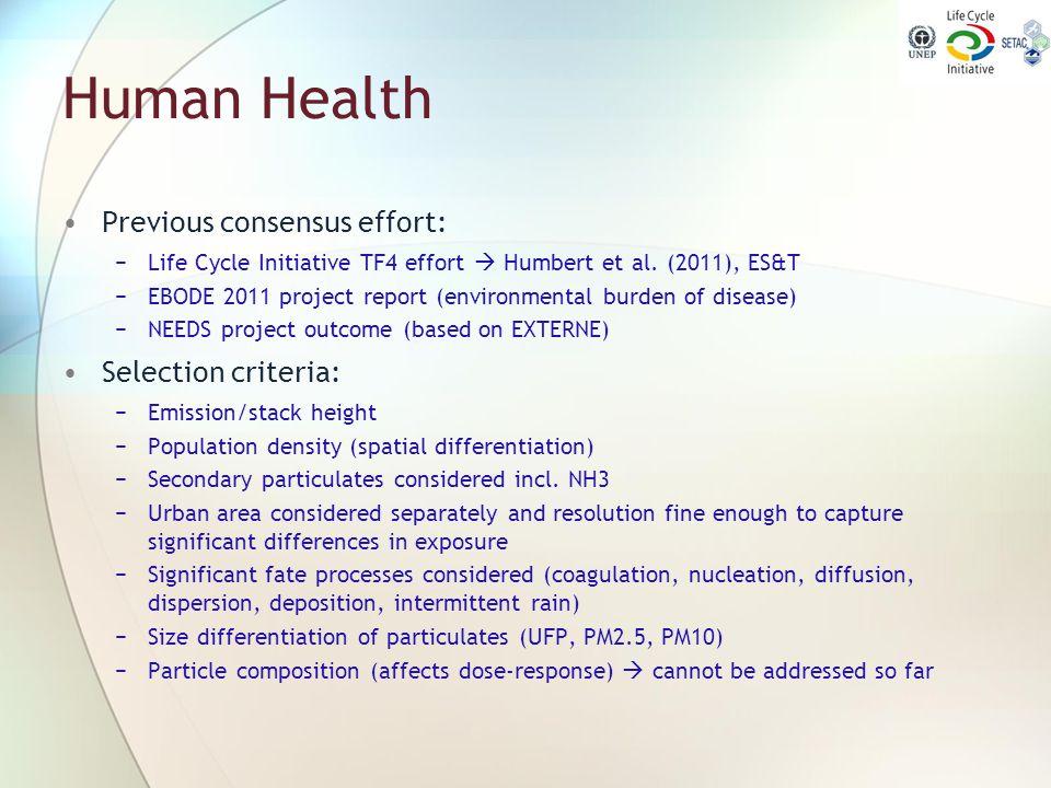 Human Health Previous consensus effort: −Life Cycle Initiative TF4 effort  Humbert et al. (2011), ES&T −EBODE 2011 project report (environmental burd