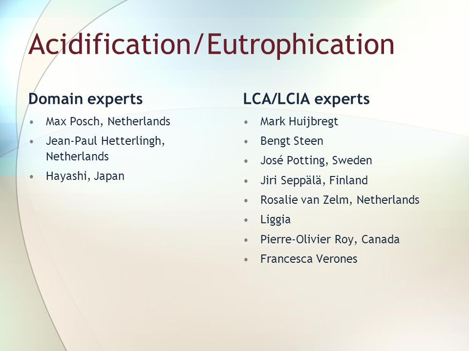 Acidification/Eutrophication Domain experts Max Posch, Netherlands Jean-Paul Hetterlingh, Netherlands Hayashi, Japan LCA/LCIA experts Mark Huijbregt B