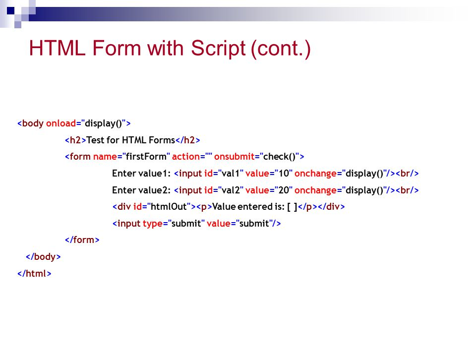 HTML Form with Script