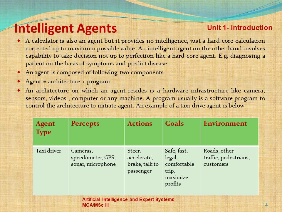 Intelligent Agents A calculator is also an agent but it provides no intelligence, just a hard core calculation corrected up to maximum possible value.