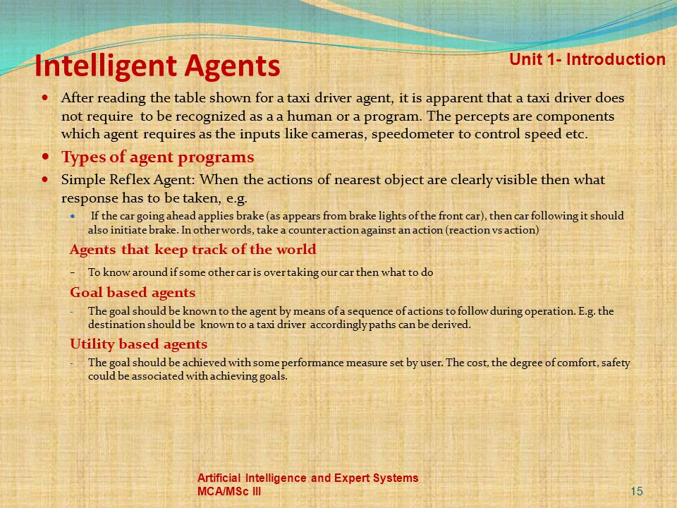 Intelligent Agents After reading the table shown for a taxi driver agent, it is apparent that a taxi driver does not require to be recognized as a a h