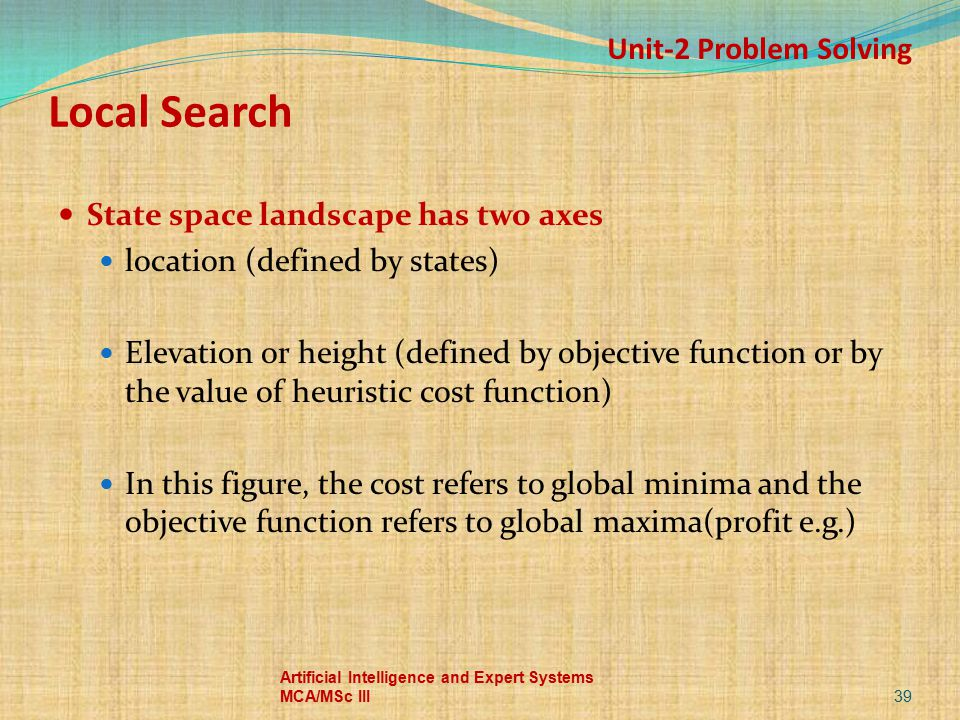Local Search State space landscape has two axes location (defined by states) Elevation or height (defined by objective function or by the value of heu