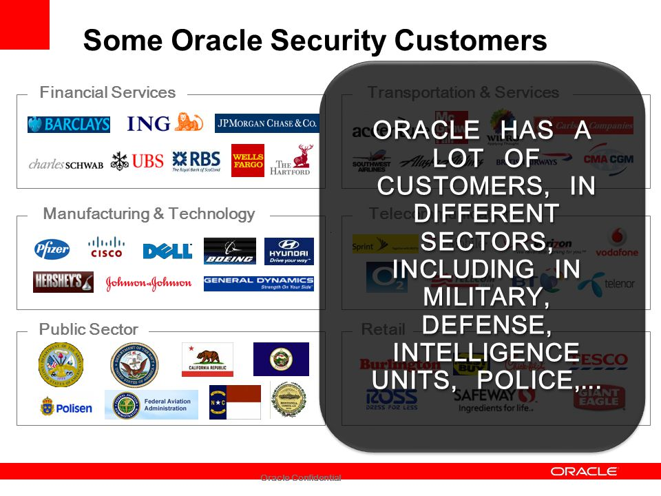 Oracle Confidential Some Oracle Security Customers Financial Services Manufacturing & Technology Public Sector Transportation & Services Telecommunica