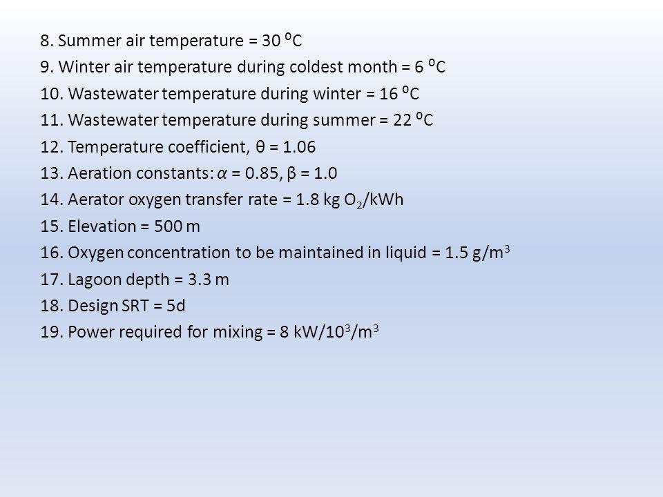 8.Summer air temperature = 30 ⁰C 9. Winter air temperature during coldest month = 6 ⁰C 10.