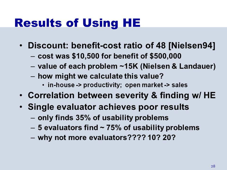 28 Results of Using HE Discount: benefit-cost ratio of 48 [Nielsen94] –cost was $10,500 for benefit of $500,000 –value of each problem ~15K (Nielsen &