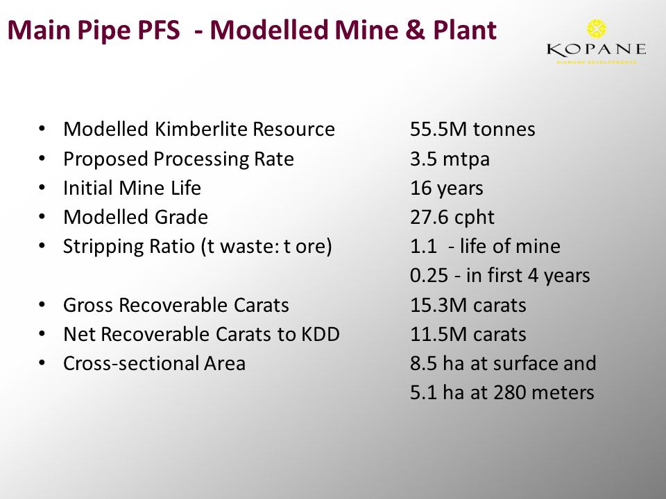 Main Pipe PFS - Modelled Mine & Plant Modelled Kimberlite Resource55.5M tonnes Proposed Processing Rate3.5 mtpa Initial Mine Life16 years Modelled Grade27.6 cpht Stripping Ratio (t waste: t ore)1.1 - life of mine 0.25 - in first 4 years Gross Recoverable Carats15.3M carats Net Recoverable Carats to KDD11.5M carats Cross-sectional Area8.5 ha at surface and 5.1 ha at 280 meters