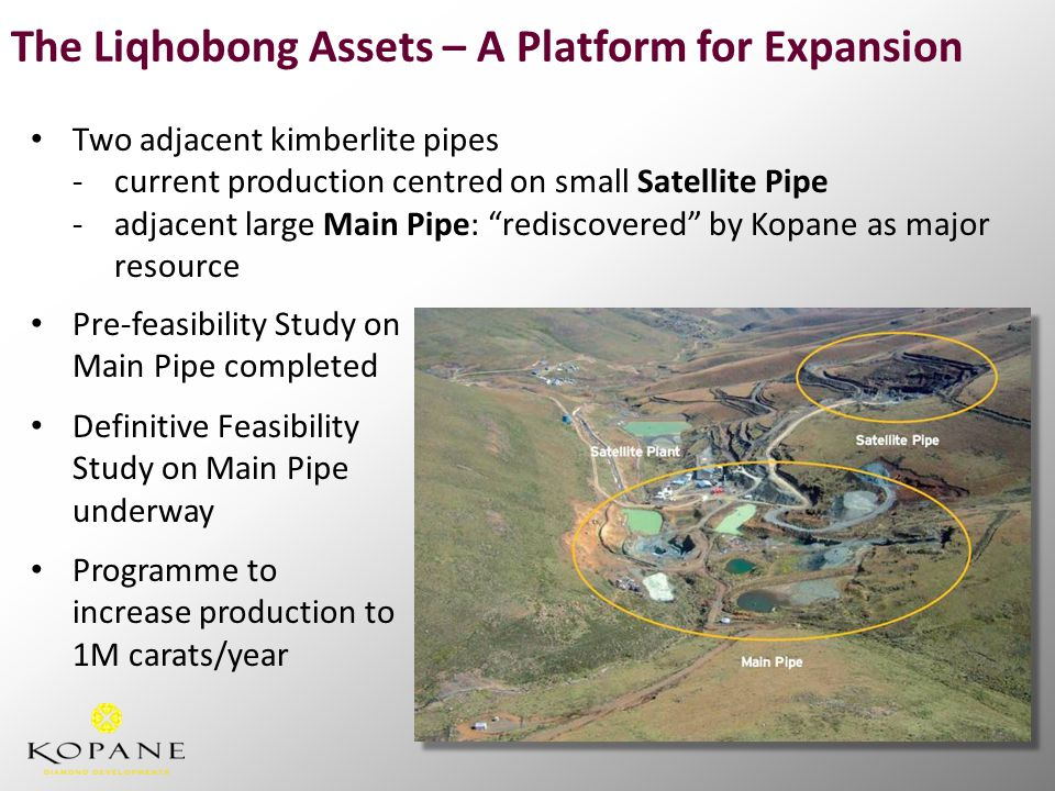 Two adjacent kimberlite pipes -current production centred on small Satellite Pipe -adjacent large Main Pipe: rediscovered by Kopane as major resource Pre-feasibility Study on Main Pipe completed Definitive Feasibility Study on Main Pipe underway Programme to increase production to 1M carats/year The Liqhobong Assets – A Platform for Expansion