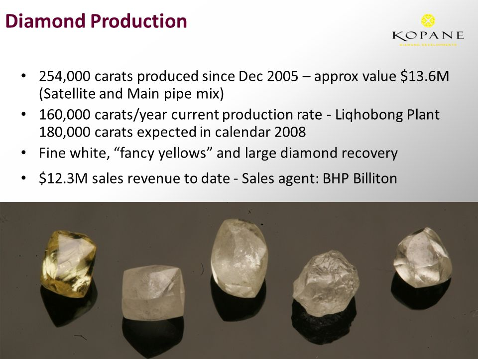 254,000 carats produced since Dec 2005 – approx value $13.6M (Satellite and Main pipe mix) 160,000 carats/year current production rate - Liqhobong Plant 180,000 carats expected in calendar 2008 Fine white, fancy yellows and large diamond recovery $12.3M sales revenue to date - Sales agent: BHP Billiton Diamond Production