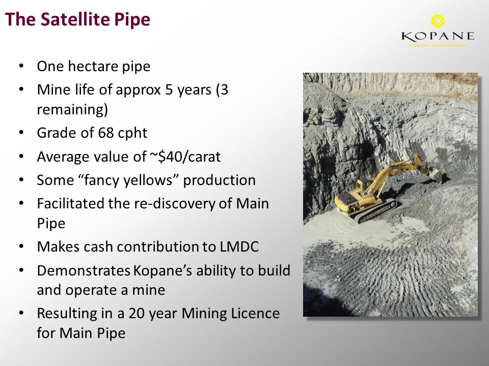 The Satellite Pipe One hectare pipe Mine life of approx 5 years (3 remaining) Grade of 68 cpht Average value of ~$40/carat Some fancy yellows production Facilitated the re-discovery of Main Pipe Makes cash contribution to LMDC Demonstrates Kopane's ability to build and operate a mine Resulting in a 20 year Mining Licence for Main Pipe