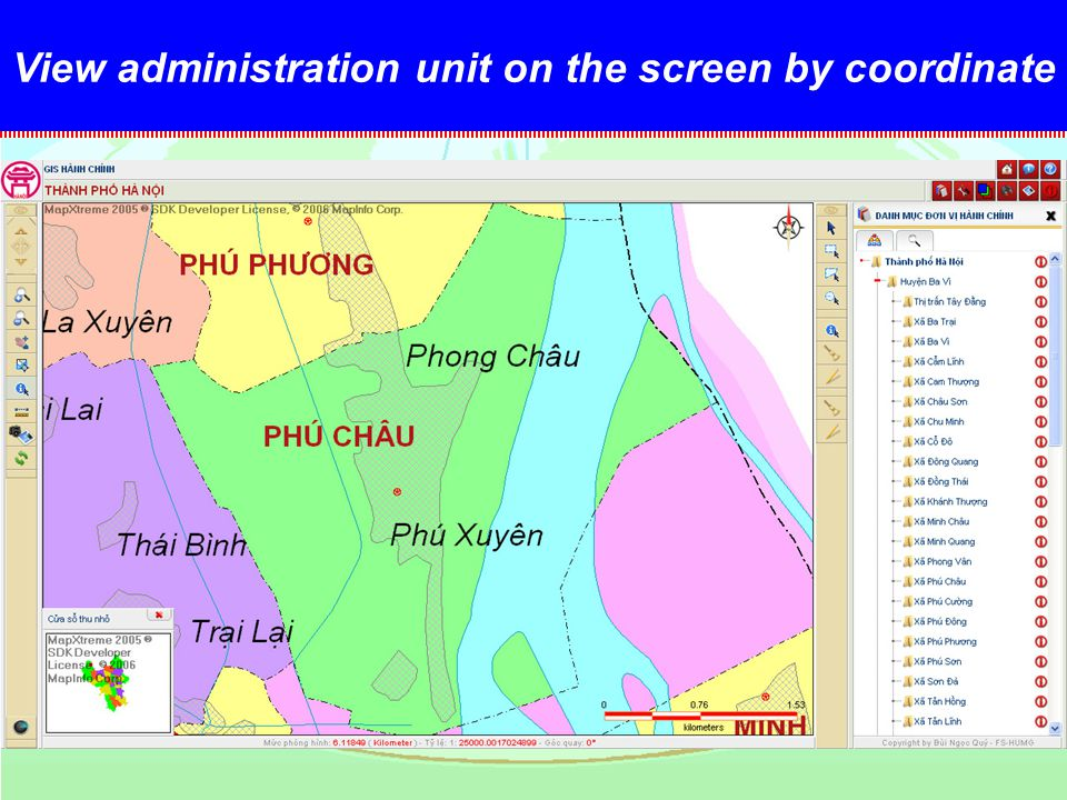 View administration unit on the screen by coordinate Huyện Ba Vì+ Xã Phú Châu