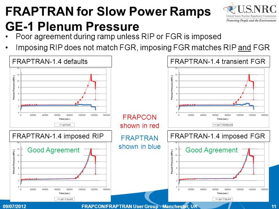 FRAPCON/FRAPTRAN User Group - Manchester, UK11 FRAPTRAN for Slow Power Ramps GE-1 Plenum Pressure FRAPTRAN-1.4 defaultsFRAPTRAN-1.4 transient FGR FRAPTRAN-1.4 imposed FGRFRAPTRAN-1.4 imposed RIP FRAPCON shown in red Poor agreement during ramp unless RIP or FGR is imposed Imposing RIP does not match FGR, imposing FGR matches RIP and FGR Good Agreement 09/07/2012 FRAPTRAN shown in blue
