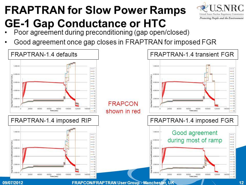 FRAPCON/FRAPTRAN User Group - Manchester, UK12 FRAPTRAN for Slow Power Ramps GE-1 Gap Conductance or HTC FRAPTRAN-1.4 defaultsFRAPTRAN-1.4 transient FGR FRAPTRAN-1.4 imposed FGRFRAPTRAN-1.4 imposed RIP Poor agreement during preconditioning (gap open/closed) Good agreement once gap closes in FRAPTRAN for imposed FGR Good agreement during most of ramp 09/07/2012 FRAPCON shown in red