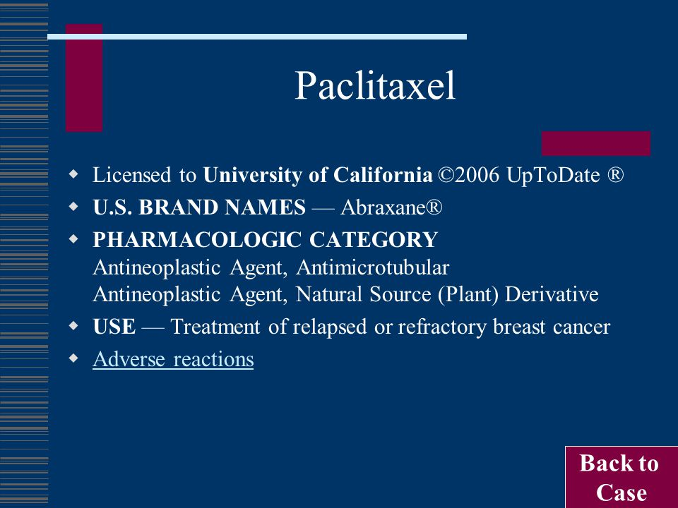 Paclitaxel  Licensed to University of California ©2006 UpToDate ®  U.S. BRAND NAMES — Abraxane®  PHARMACOLOGIC CATEGORY Antineoplastic Agent, Antim