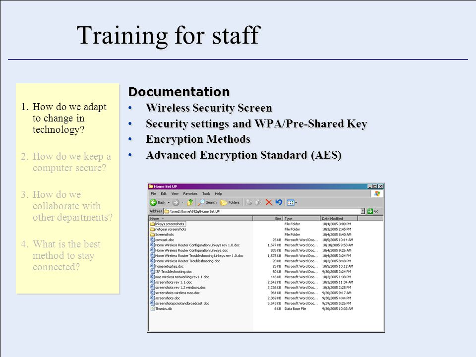Training for staff Documentation Wireless Security Screen Security settings and WPA/Pre-Shared Key Encryption Methods Advanced Encryption Standard (AES) Documentation Wireless Security Screen Security settings and WPA/Pre-Shared Key Encryption Methods Advanced Encryption Standard (AES) 1.How do we adapt to change in technology.