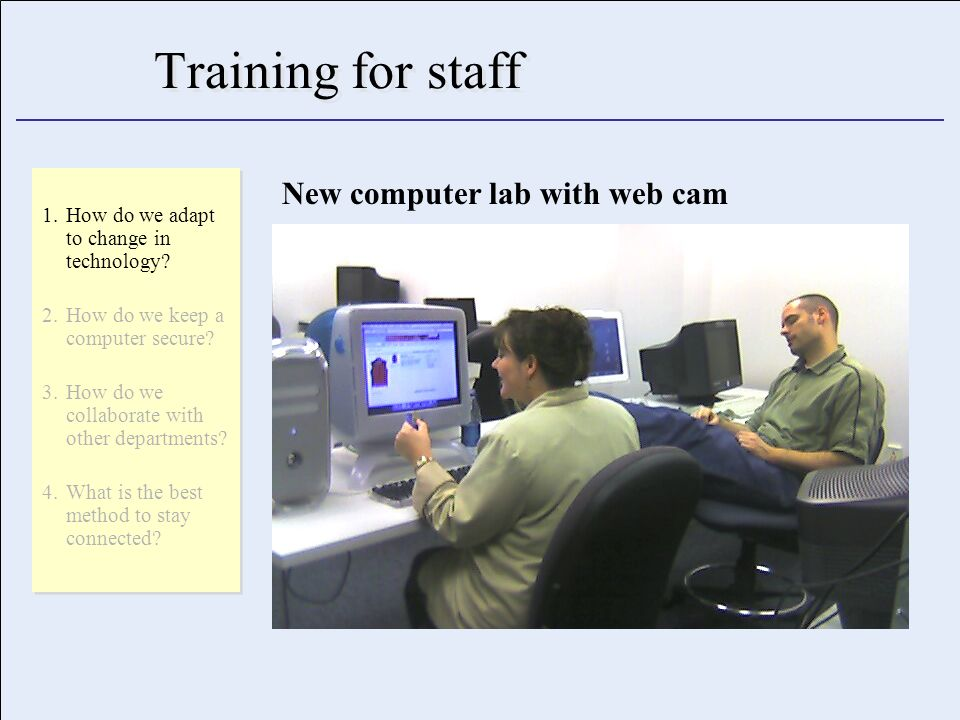 Training for staff 1.How do we adapt to change in technology.