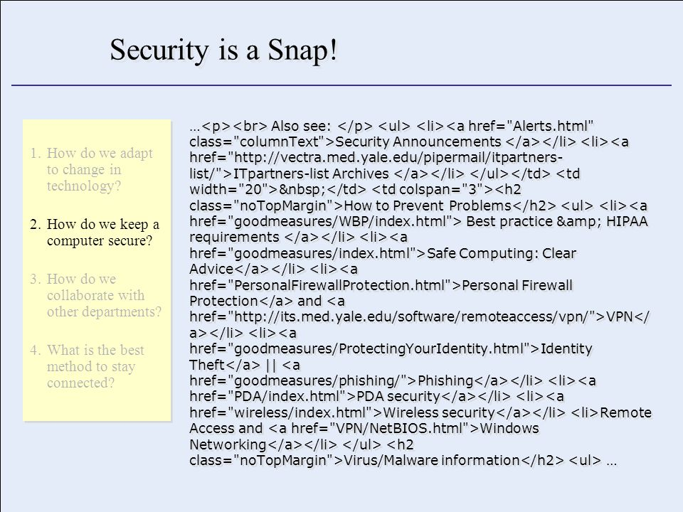 Security is a Snap.